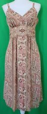 Bandolino Brown Floral Sequin & Bead Embellished Floral Sleeveless Dress -Size 4