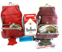 Women's Leather Cigarette Case Pouch+Coin Purse 100s King 84s 2pc Lot RED + WINE
