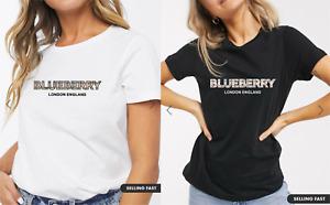 Girls Blueberry London England Parody Tartan Slogan Printed Fashion T-Shirt