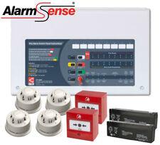 AlarmSense Bi-Wire Wired Fire Alarm Kit with Smoke & Heat Detectors 2 Zone Panel