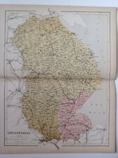 Lincolnshire, 1861 Antique Map, County, Hughes, Atlas