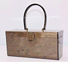 Vintage Wilardy Brown Marbleized Lucite Box Purse Evening Handbag Filigree Clasp