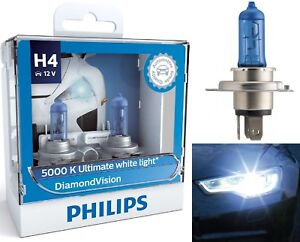 Philips Diamond Vision White 5000K 9003 HB2 H4 60/55W Head Light Bulb High Low