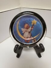 """Paperweight; Enesco Corp 3.5"""" Baby Angel painting a star sitting on the moon!"""