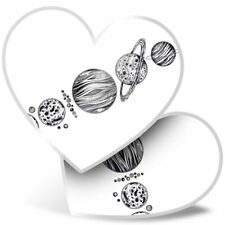 2 x Heart Stickers 10 cm - Planets Space Saturn Moon Earth NASA  #8143