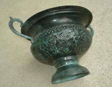 "Antiq Vintage Victorian Style Copper Pedestal Urn Planter 10"" Dia Patina Old"
