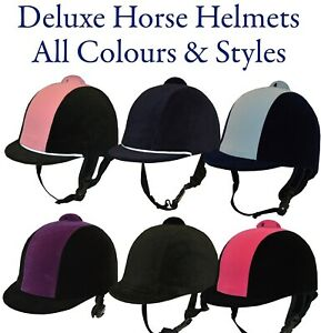 Deluxe Horse Riding Helmets Hats Velvet All Colours Styles and Hat Sizes