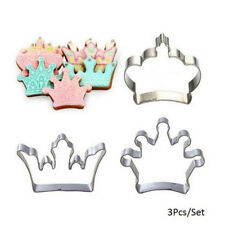 3x princesa corona Rey Party cookie cortadores torta galleta hornear molde kp