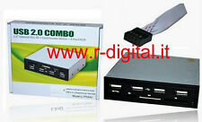 CARD READER + HUB INTERNO 4 PORTE LETTORE MULTI SCHEDE 3,5 P USB in VANO FLOPPY