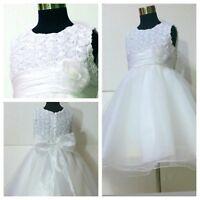 W810 White Communion Wedding Flower Girls Dresses AGE SZ 1-2-3-4-5-6-7-8-9-10-12