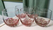 Set of 5 Cuisinart double old fashion holiday GLASSES red gold dots spots 14.5oz