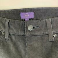 NYDJ Black Flat Front Cotton Stretch Bootcut Leg Casual Corduroy Pant Womens 4