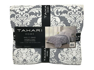 NEW Tahari King Gray White Floral Stitch Paisley Reversible Coverlet 106x92