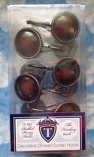 OIL RUBBED BRONZE SHOWER CURTAIN HOOKS SET OF 12 NEW