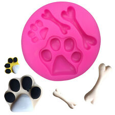 Silicone Fondant Gum Chocolate cake cookie Mold Print Dog Bones spots paws