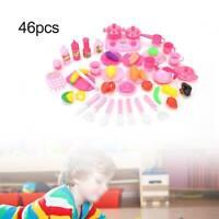 46Pcs Kids Play Kitchen Food Toys Cooking Utensils Pots Pans Accessories Set UK