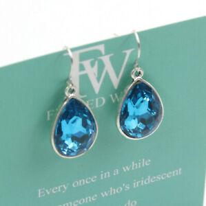 Elegant Charms Silver Plated Crystal Ear Studs Dangle Teardrop Earrings Gift A09