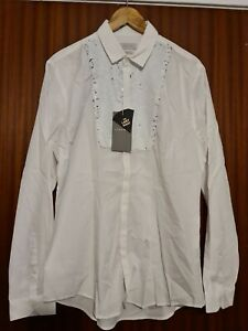 Zara Man Large Slim Fit White Silver Sequins Fancy Party Long Sleeve BNWT Shirt