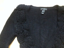 GILET MOHAIR TBE M 36 38 MANGO HIPPIE CHIC CARDIGAN angora broderies fleurs wool