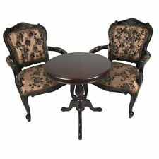 Solid Mahogany Wood Table Set with 2 x French Sofa Chairs Antique Design