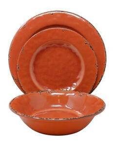 Dinnerware Set 12 Pc Farmhouse Rustic Coral Melamine Orange Serve 4 New