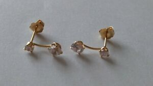 14-karat gold earrings with clear stones
