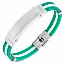 Bracelet Made of Rubber Green and White with Plate Stainless Steel