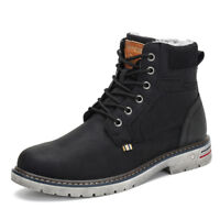 Men Women Snow Boots Anti-skid Warm Fur-Lined Lace Up Shoes Winter Outdoor F56