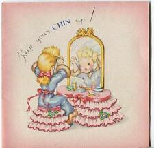 VINTAGE GORGEOUS BLONDE GIRL VANITY DRESSER PERFUME BOTTLE TOILETTE CHIN UP CARD