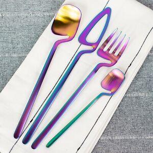 24 Pc. Modern Flatware set for 6 Stainless Steel Kitchen Silverware - Iridescent