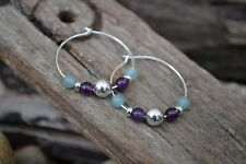 Handmade earrings with Sterling Silver, Amethyst & Amazonite.