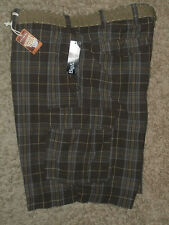 Arizona-Mens Belted Plaid Cargo Shorts, Big& Tall Size : 44 , Color: Brown Plaid