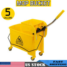 5 Gallon Mini Mop Bucket w/Wringer Combo Commercial Rolling Cleaning Cart Yellow