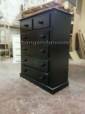 HAND MADE DEWSBURY FURNITURE 2+ 4 DRAWER CHEST BLACK(ASSEMBLED)