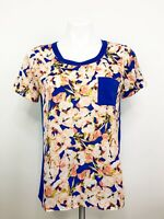 J.Crew Women's Short Sleeve Polyester Royal Blue Floral Pocket Top/ Tee Size XS