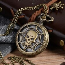 UK PIRATE SKULL POCKET WATCH NECKLACE Jewellery Gift Antique Vintage Style