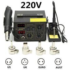 852D++ 220V LED Display 2 In 1 Soldering Rework Station Hot Air Gun + 4 Nozzles