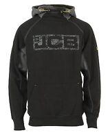 New JCB Workwear Horton Heavyweight Logo Print Hoodie Hooded Sweatshirt Black