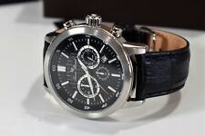 Lucien Piccard Watch 12011-01 Men's Monte Viso Chrono Black Genuine Leather
