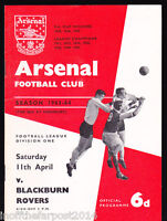 1963/64 ARSENAL V BLACKBURN ROVERS 11-04-1964 Division 1
