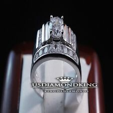 2 PCS LADIES WOMEN'S WHITE GOLD FINISH STERLING SILVER DUO WEDDING BAND RING SET
