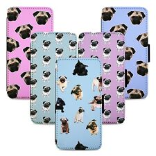 Adorable Pug Patterns Flip Phone Case Cover Wallet - Fits Iphone 5 6 7 8 X 11