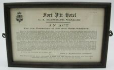 Vtg Framed Fort Pitt Hotel Pittsburgh PA 1877 An Act Disclamier Paper Hartranft