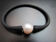 """Unisex Black Silicon Rubber Bracelet White Pearl Stainless Steel Post 7.5"""""""