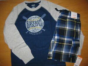 NWT Gymboree Sunny Sports Size 7 Set Blue Baseball Shirt Plaid Shorts