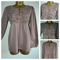 NEW NEXT EMBROIDERED TOP TUNIC SMOCK BLOUSE COTTON FLORAL MAUVE JERSEY 6 - 22