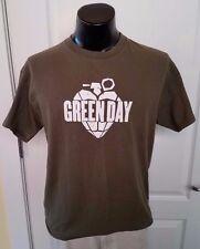 Green Day American Idiot Heart Grenade Logo Green T Shirt Large Vintage Print