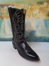 VINTAGE WESTERN COWBOY BOOTS BLACK EMBROIDED LEATHER Cuban Heels Sz 9