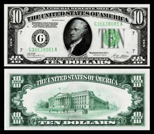 1928-B $10 DOLLAR BILL  FEDERAL RESERVE ~ GREEN SEAL ~ CRISP ~ UNCIRCULATED~