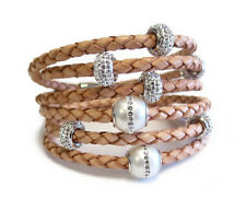 Women's Stack Leather Bracelet Triple Wrap Camel With Fresh Water Pearls